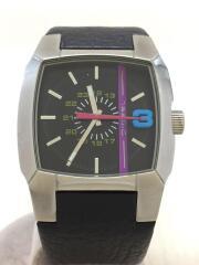 クォーツ腕時計/アナログ/レザー/BLK/BLK