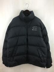 ダウンジャケット/L/ナイロン/ブラック/c7-9604/ロゴ刺繍/パフジャケット/