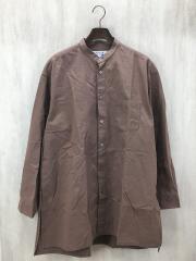 長袖シャツ/L/コットン/ブラウン/チェック/画廊シャツ/e-19411/バンドカラー/日本製
