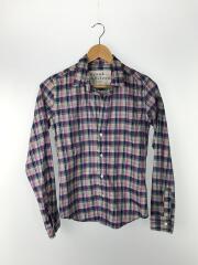 長袖スキッパーシャツ/XS/コットン/PNK/BLU/GRN/チェック