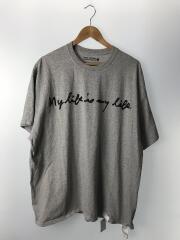 プリントビッグTシャツ/XL/コットン/GRY/無地