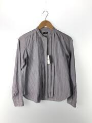 フロントデザインバンドカラー長袖シャツ/3/コットン/BLU/ストライプ