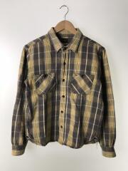 チェックネルシャツ/S/コットン/YLW/GRY/チェック