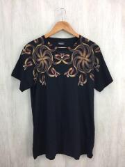 スネークプリントTシャツ/M/コットン/BLK