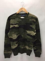 エルボーパッチ付セーター(厚手)/S/ウール/KHK/牛革パッチ使用