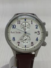 クォーツ腕時計/アナログ/レザー/WHT/BRW/0511-S060575