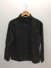ラウンドカラーワイドドットシャツ/長袖ブラウス/2/BLK