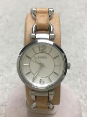 クォーツ腕時計/アナログ/レザー/ホワイト/ベージュ/ES3854