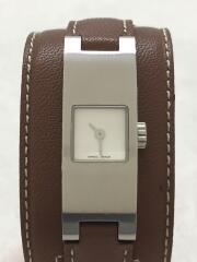 クォーツ腕時計/アナログ/レザー/WHT/BRW