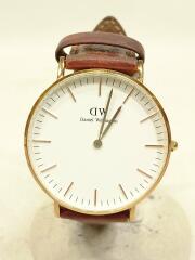 0507DW/クォーツ腕時計/アナログ/レザー/BRW/BRW