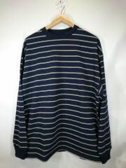 長袖Tシャツ/L/コットン/ネイビー/ボーダー/8112-241-7970
