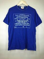 リーバイスコラボ/フロントプリント半袖Tシャツ/M/コットン/ブルー