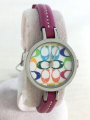 クォーツ腕時計/シグネチャー/マルチカラー/アナログ/ピンク/0201/使用感有