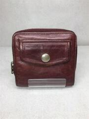 2つ折り財布/レザー/ブラウン/茶/スナップボタン