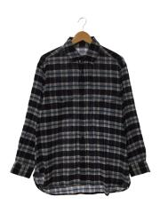 18aw/WOOL CHECK L/S SHIRTS/タグ付/FREE/ウール/NVY/チェック/18FUS08