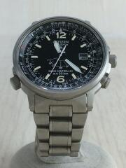 ソーラー腕時計/アナログ/チタン/BLK