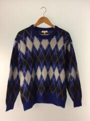 セーター(厚手)/S/モヘア/BLU/総柄