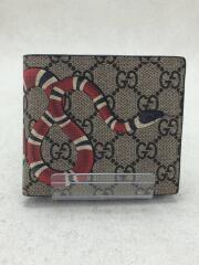 2つ折り財布/レザー/BEG/総柄