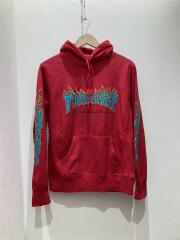 Thrasher Hooded Sweatshirt/パーカー/S/コットン/RED/プルオーバー プリント