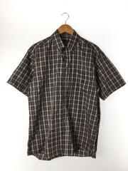 ボタンダウンシャツ/半袖シャツ/L/コットン/BLK/チェック