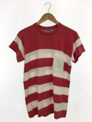 Tシャツ/M/コットン/PNK/ボーダー/ベーシック/中古/コットンニットTシャツ
