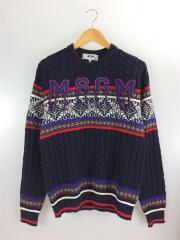 ノルディックセーター/2340MM142X/S/ウール/NVY