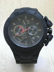エンポリオアルマーニ/クォーツ腕時計/アナログ/ラバー/BLK/BLK/AX1187