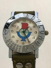 クォーツ腕時計/アナログ/レザー/カーキ/BOY-31-W
