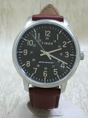 クォーツ腕時計/アナログ/レザー/ブラック/ブラウン/黒/茶色/SR626SW