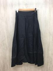 ロングスカート/S/リネン/黒/ブラック/無地/1624-144-3281