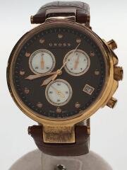 クロス/クォーツ腕時計/アナログ/レザー/ブラウン/茶色