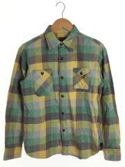 ネルシャツ/杢チェック/コットン/グリーン