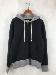 ジップパーカー/L/コットン/ネイビー/紺色