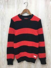 セーター(厚手)/S/アクリル/レッド/赤/黒/ブラック/ボーダー