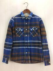 BIG PLAID HEAVY FLANNEL CPO SHIRT/シャツ/S/コットン/BLU/チェック