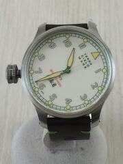 TERRA CIELO MARE/自動巻腕時計/アナログ/レザー/WHT/BRW