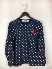 ロンT/長袖Tシャツ/S/コットン/NVY/ドット/AZ-T166/ギャルソン/カットソー