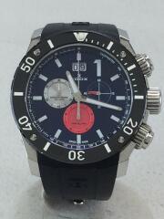 クロノオフショア/クォーツ腕時計/アナログ/ラバー/NVY/BLK/10020-3-BUIN3