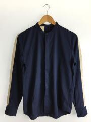 16AW/側章バンドカラーシャツ/長袖シャツ/36/ポリエステル/NVY/162-SH06