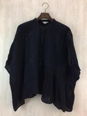 バンドカラーシャツ/半袖ブラウス/FREE/コットン/BLK/CLC-1708519