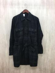 14AW/ガウンシャツ/ロングシャツ/長袖シャツ/38/コットン/BLK/チェック/142-SH01