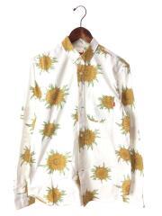 15SS/Sunflower Shirt/ボタンダウンシャツ/長袖シャツ/S/コットン/WHT/花柄