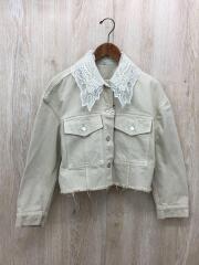 刺繍襟デニムジャケット/Gジャン/2/コットン/WHT/0320101121-00