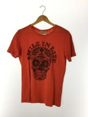 Tシャツ/S/コットン/ORN/SMAIL IN LIFE/ドクロ/ガイコツ/オレンジ/