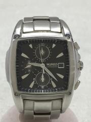 クォーツ腕時計/アナログ/ステンレス/BLK/SLV/クロノグラフ/7T92-0GL0/黒/カレンダー