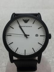 クォーツ腕時計/アナログ/ステンレス/WHT/BLK