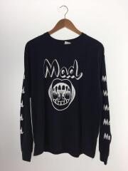 MAD/プリント/長袖Tシャツ/L/コットン/BLK