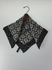 小物/シルク/BLK/総柄/ユニセックス/黒/ブラック/スカーフ