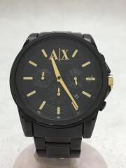クォーツ腕時計_ステンレス/アナログ/ステンレス/GLD/BLK/5ATM