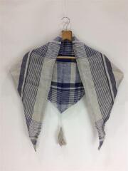 スカーフ/リネン/BLU/チェック